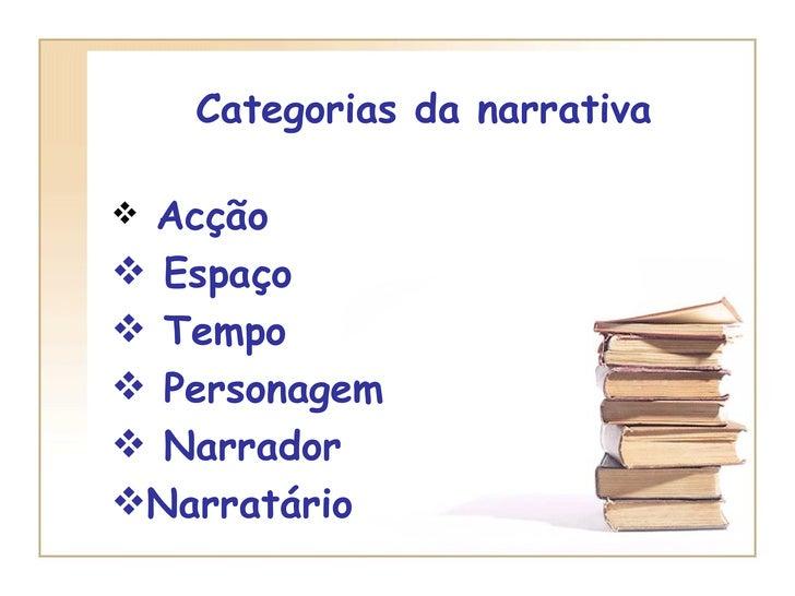 Categorias da narrativa <ul><li>Acção </li></ul><ul><li>Espaço </li></ul><ul><li>Tempo </li></ul><ul><li>Personagem </li><...