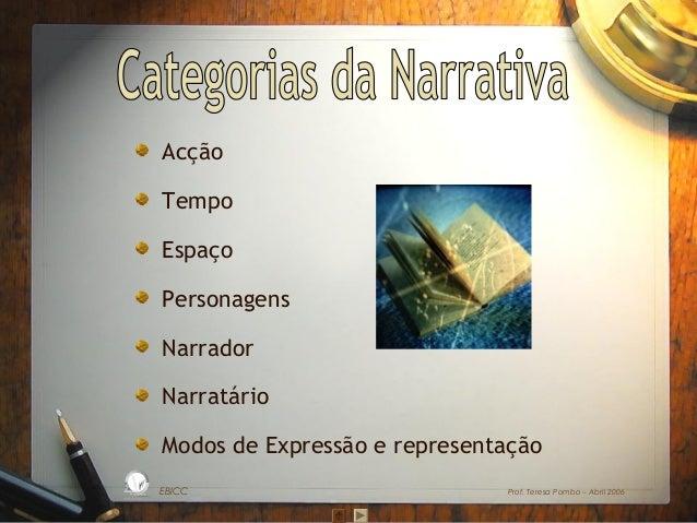 Acção Tempo Espaço Personagens Narrador Narratário Modos de Expressão e representação L  D A RA  ES C O  S IC A IN T BÁ E ...