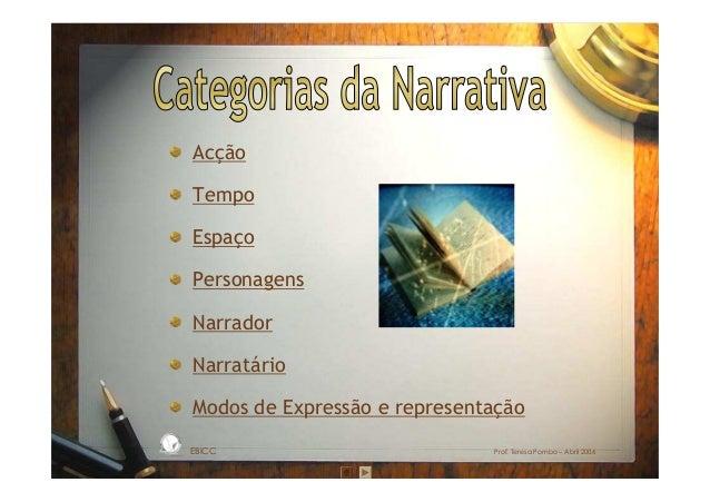 Acção Tempo Espaço Personagens Narrador Narratário Modos de Expressão e representação EBICC Prof. Teresa Pombo – Abril 200...