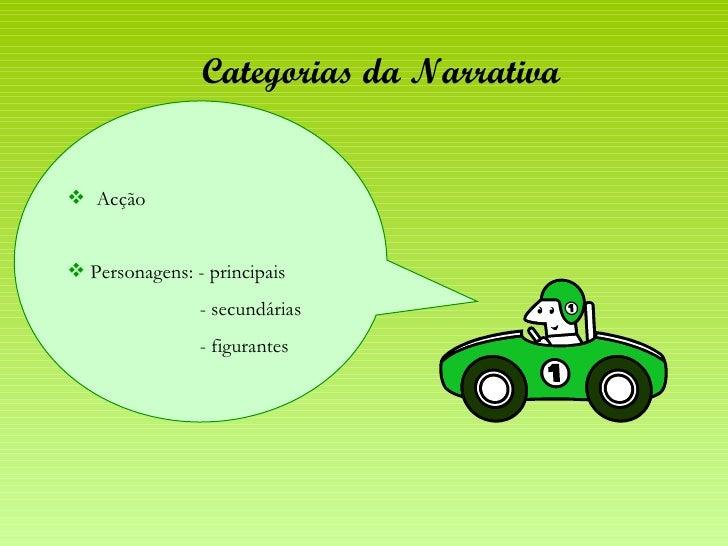 Categorias da Narrativa <ul><li>Acção </li></ul><ul><li>Personagens: - principais </li></ul><ul><li>- secundárias </li></u...