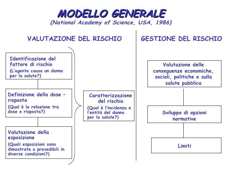 MODELLO GENERALE                    (National Academy of Science, USA, 1986)         VALUTAZIONE DEL RISCHIO              ...
