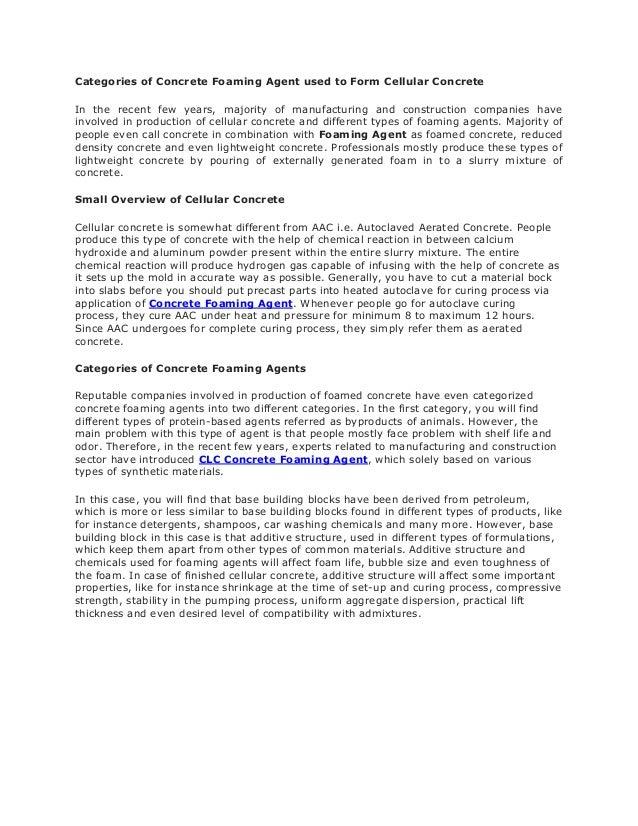 Cellular Concrete Foaming Agent : Categories of concrete foaming agent used to form cellular