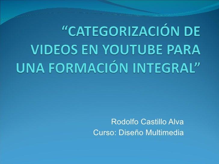 Rodolfo Castillo Alva Curso: Diseño Multimedia