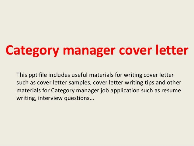 Category Manager Cover Letter | Resume CV Cover Letter