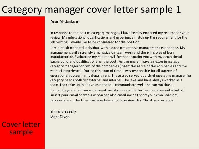 2 category manager cover letter sample - Manager Cover Letter Sample