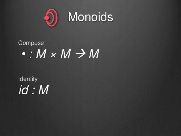 Monoids Compose • : M × M  M Identity id : M