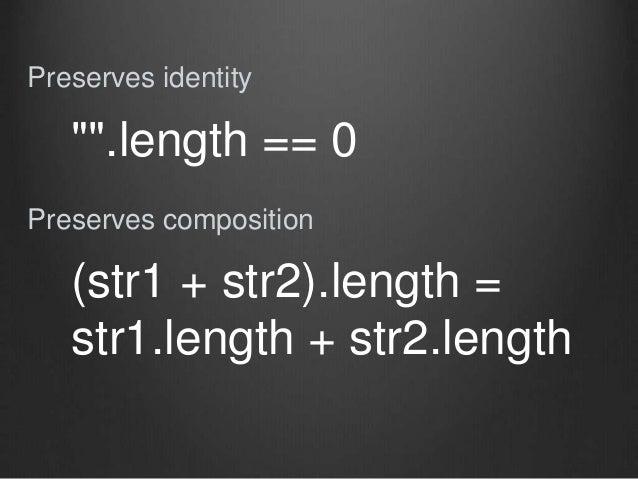 "Preserves identity Preserves composition """".length == 0 (str1 + str2).length = str1.length + str2.length"
