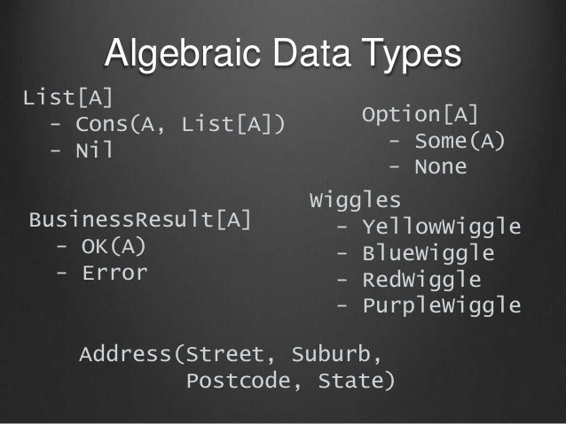 Algebraic Data Types List[A] - Cons(A, List[A]) - Nil Option[A] - Some(A) - None BusinessResult[A] - OK(A) - Error Wiggles...