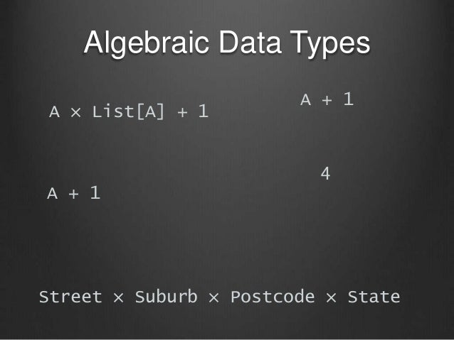 Algebraic Data Types A × List[A] + 1 A + 1 A + 1 4 Street × Suburb × Postcode × State