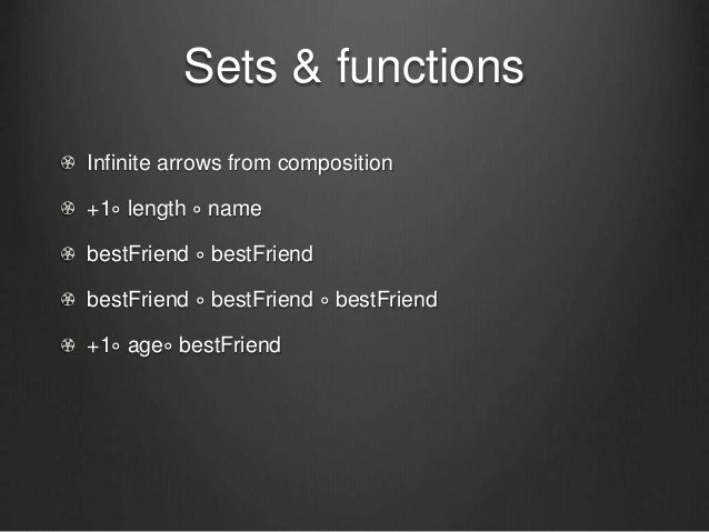 Sets & functions Infinite arrows from composition +1∘ length ∘ name bestFriend ∘ bestFriend bestFriend ∘ bestFriend ∘ best...