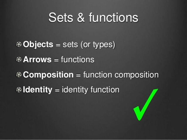 Sets & functions Objects = sets (or types) Arrows = functions Composition = function composition Identity = identity funct...