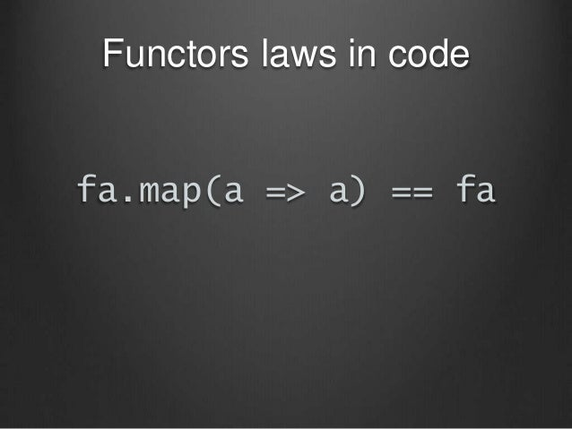 Functors laws in code fa.map(a => a) == fa