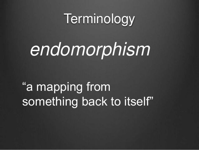 """Terminology endomorphism """"a mapping from something back to itself"""""""