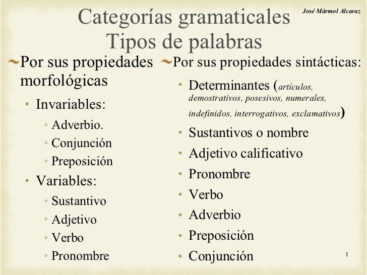 Categorías gramaticales Tipos de palabras <ul><li>Por sus propiedades morfológicas </li></ul><ul><ul><li>Invariables: </li...