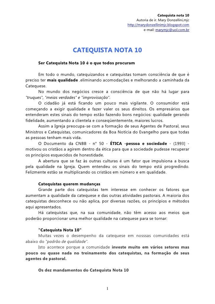 Catequista nota 10                                                         Autoria de ir. Mary Donzellini,mjc             ...