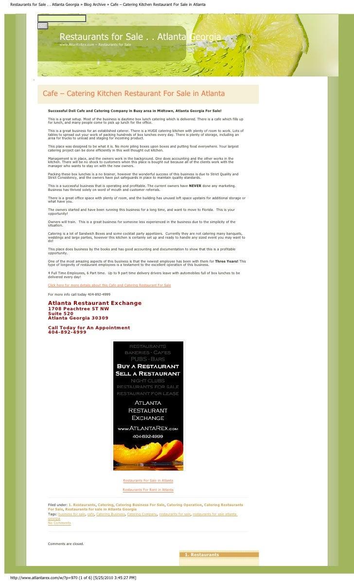 Restaurants for Sale . . Atlanta Georgia » Blog Archive » Cafe – Catering Kitchen Restaurant For Sale in Atlanta          ...