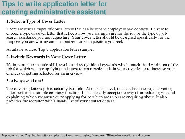 Catering administrative assistant application letter – Cover Letter for Administrative Assistant