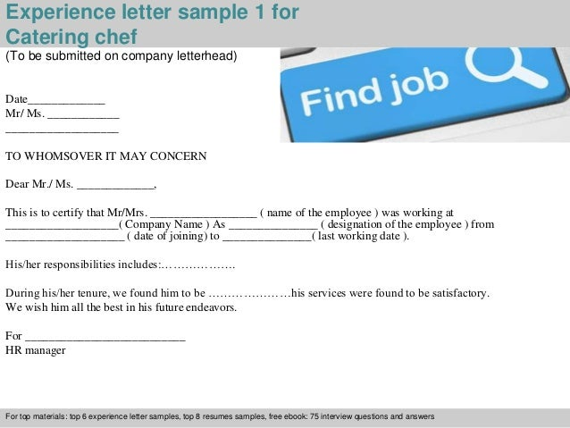 Catering chef experience letter 2 experience letter sample 1 for catering chef spiritdancerdesigns Gallery