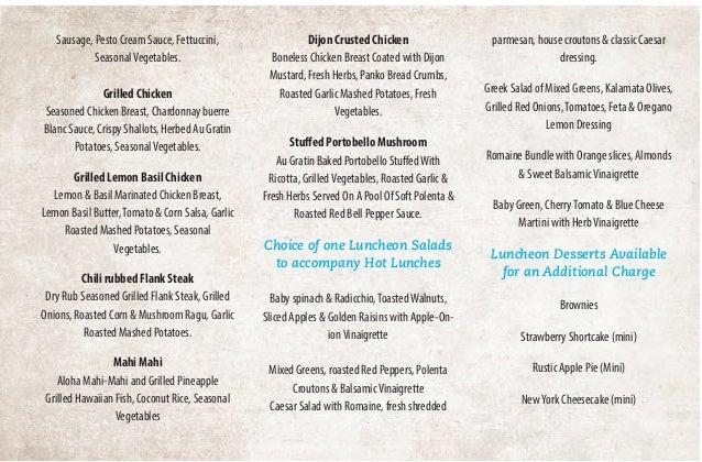 Ten O Six Beach Road Bistro Catering Menus