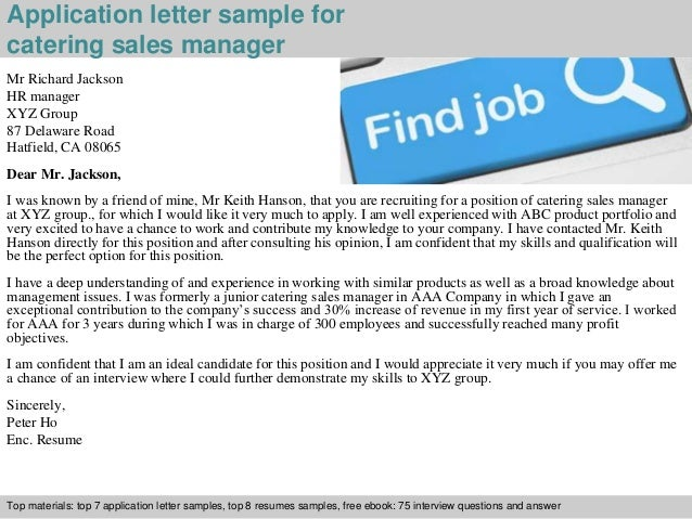 Catering Sales Manager Application Letter