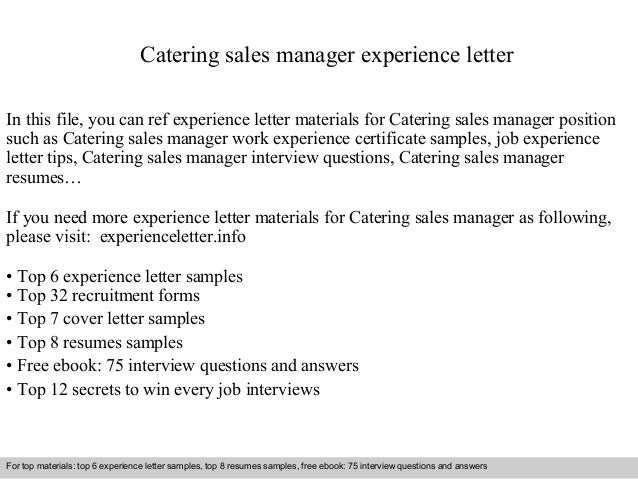 Catering Sales Manager Experience Letter