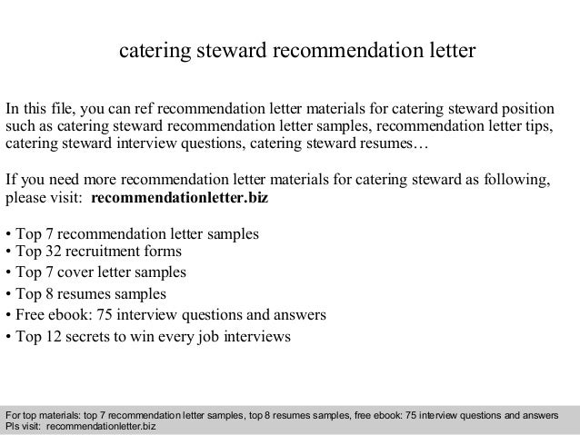 Interview Questions And Answers U2013 Free Download/ Pdf And Ppt File Catering  Steward Recommendation Letter ...