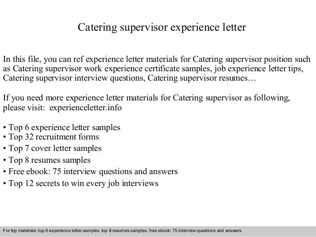 Catering supervisor experience letter catering supervisor experience letter in this file you can ref experience letter materials for catering experience letter sample thecheapjerseys Image collections