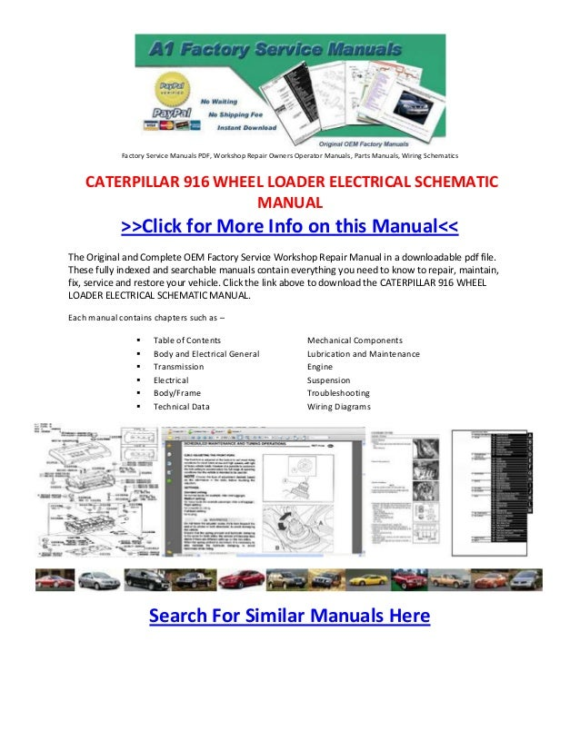 Caterpillar 916 Wheel Loader Electrical Schematic Manuals