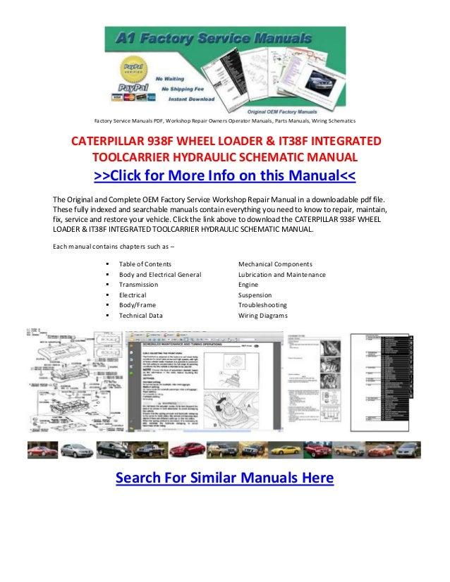 Factory Service Manuals PDF, Workshop Repair Owners Operator Manuals, Parts Manuals, Wiring Schematics     CATERPILLAR 938...