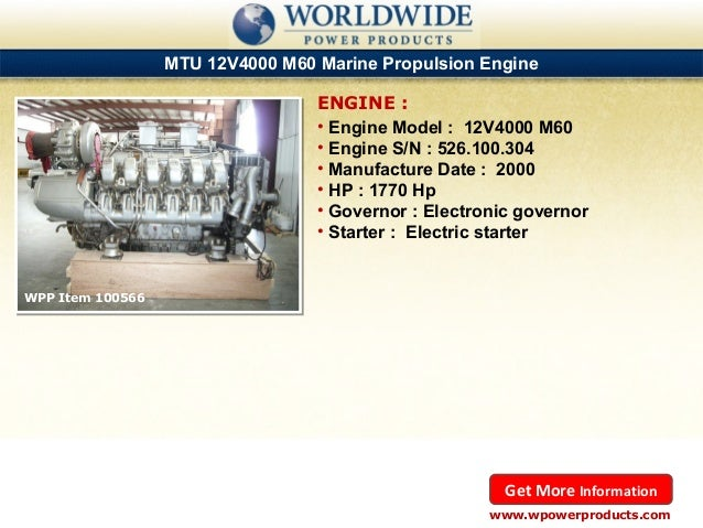 Caterpillar and MTU Marine Diesel Engines for Rent and Sale