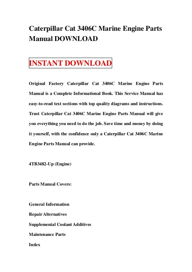 caterpillar cat 3406 c marine engine parts manual download rh slideshare net Caterpillar Toys Caterpillar Engine Parts