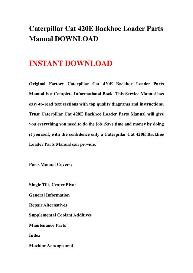 caterpillar cat 420 e backhoe loader parts manual download