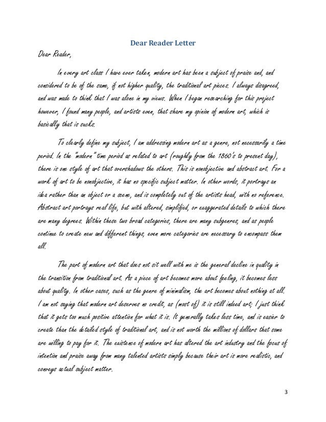 letter to the reader example