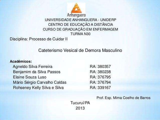 UNIVERSIDADE ANHANGUERA - UNIDERP CENTRO DE EDUCAÇÃO A DISTÂNCIA CURSO DE GRADUAÇÃO EM ENFERMAGEM TURMA N30 Disciplina: Pr...