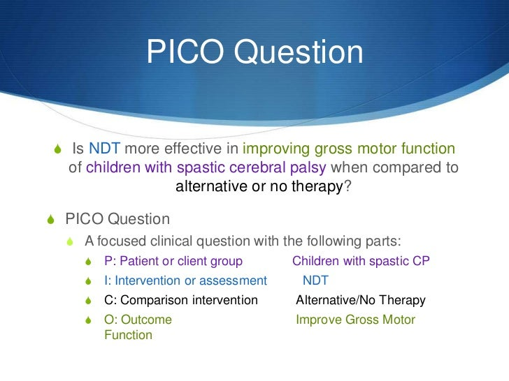 pico question Pico (alternately known as picot) is a mnemonic used to describe the four elements of a good clinical question it stands for: p--patient/problem i--intervention c--comparison.