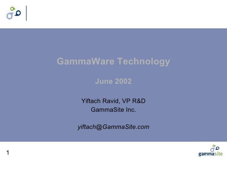 GammaWare Technology June 2002 Yiftach Ravid, VP R&D GammaSite Inc. [email_address]