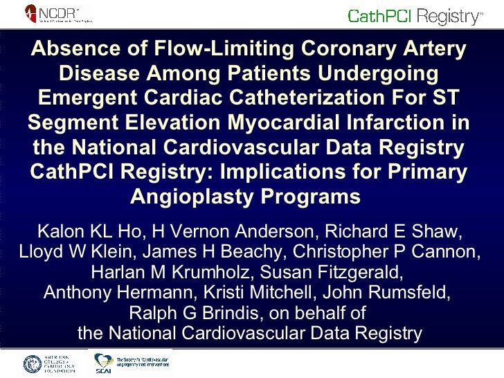 Absence of Flow-Limiting Coronary Artery Disease Among Patients Undergoing Emergent Cardiac Catheterization For ST Segment...