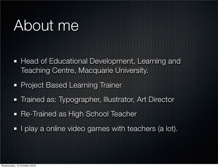 About me                Head of Educational Development, Learning and               Teaching Centre, Macquarie University....