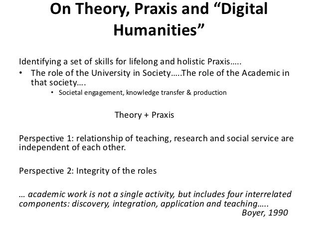 "On Theory, Praxis and ""Digital               Humanities""Identifying a set of skills for lifelong and holistic Praxis…..• T..."