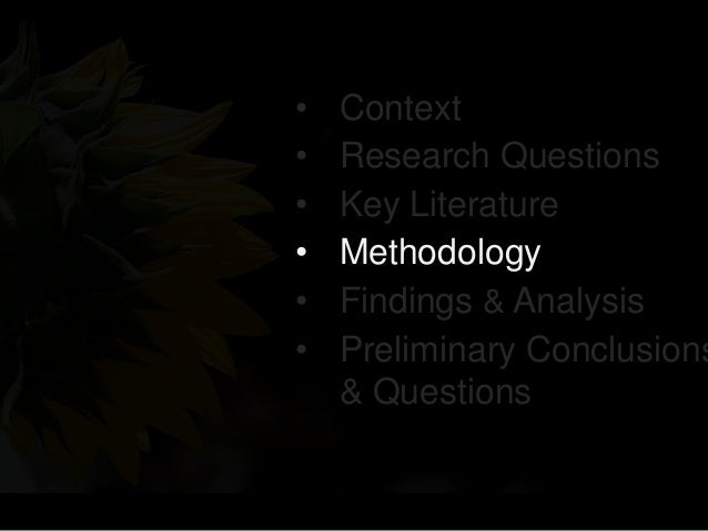 • Context • Research Questions • Key Literature • Methodology • Findings & Analysis • Preliminary Conclusions & Questions