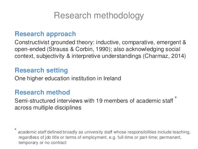 Research approach Constructivist grounded theory: inductive, comparative, emergent & open-ended (Strauss & Corbin, 1990); ...
