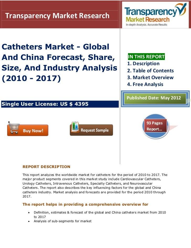 Transparency Market ResearchCatheters Market - GlobalAnd China Forecast, Share,                                           ...