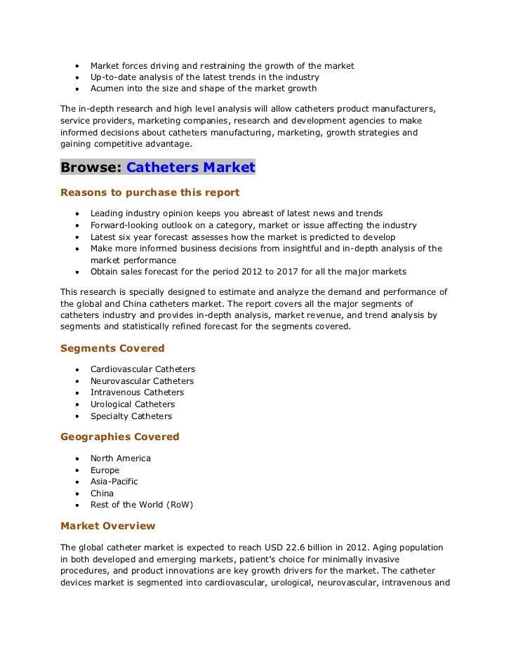 china and global intravenous catheter industry Global catheters market: overview  catheters have been an integral part of the healthcare industry for ages and are likely to remain so for the foreseeable future.