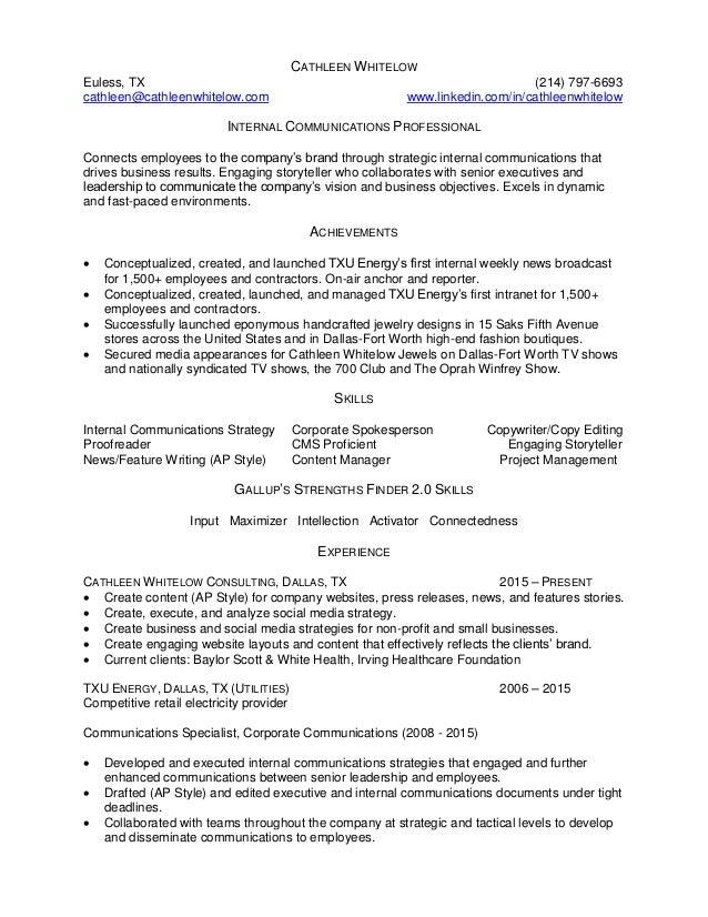 Cathleen Whitelow Resume