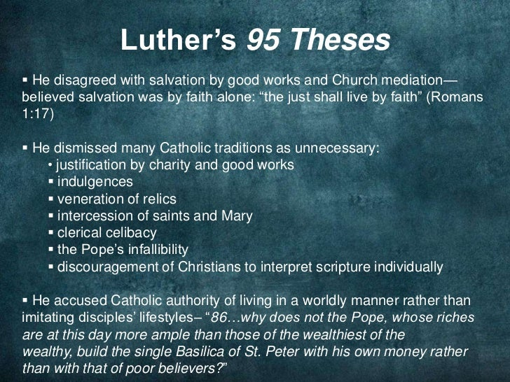 luther thesis 86 Where did martin luther post the 95 theses there is nevertheless an undercurrent of challenge in several of the theses, particularly in thesis 86.