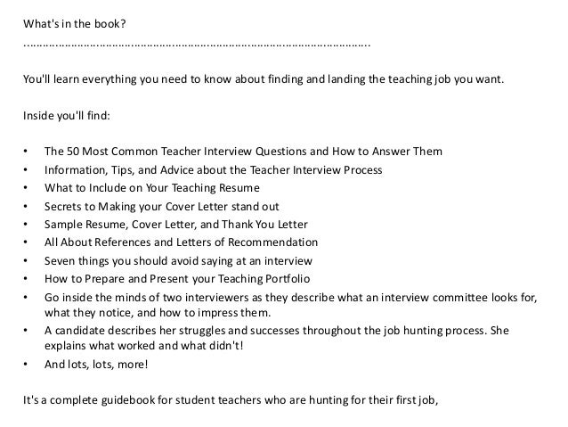 ... Advice, And Procedures That Will Help You Find And Land The Teaching  Job That; 2.