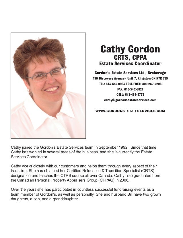 Cathy joined the Gordon's Estate Services team in September 1992. Since that time Cathy has worked in several areas of the...