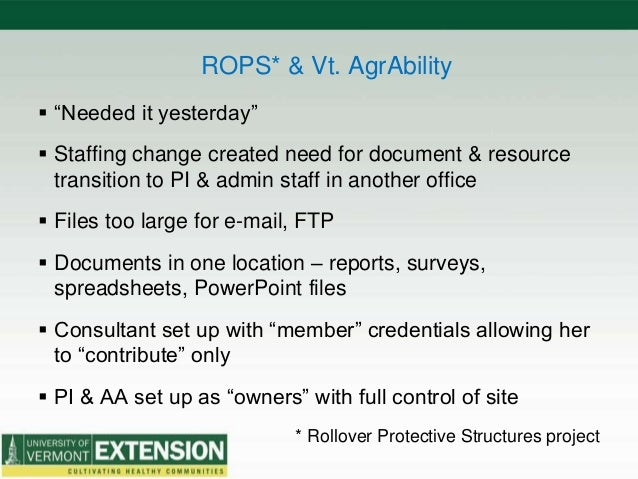 """ROPS* & Vt. AgrAbility  """"Needed it yesterday""""  Staffing change created need for document & resource transition to PI & a..."""