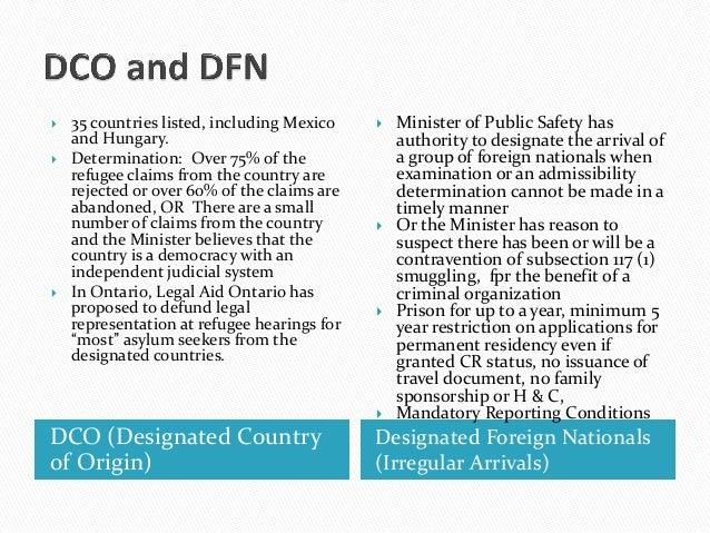 DCO (Designated Countryof Origin)Designated Foreign Nationals(Irregular Arrivals) 35 countries listed, including Mexicoan...