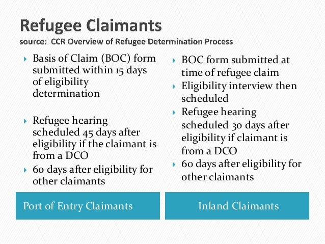 Port of Entry Claimants Inland Claimants Basis of Claim (BOC) formsubmitted within 15 daysof eligibilitydetermination Re...